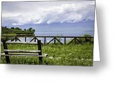 Bench By The Lake. Greeting Card by Slavica Koceva