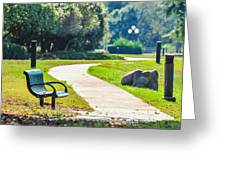Bench In A Park With A Walkway Greeting Card