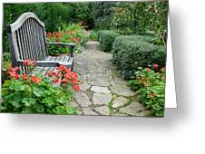 Bench In Borde Hill Gardens Greeting Card