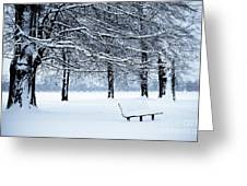 Bench In Snow Greeting Card