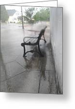 Bench In The Rain Greeting Card