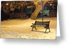 Bench In The Winter Park Greeting Card
