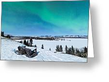 Bench Looking On Lake Laberge With Northern Lights Greeting Card