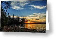 Beautiful Sunset At Waskesiu Lake Greeting Card