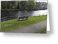 Bench On Shore Of River Ness In Inverness Greeting Card