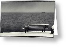 Bench On The Winter Shore Greeting Card