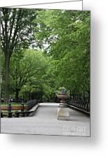 Bench Rows In Central Park  Nyc Greeting Card