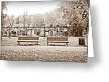 Benches By The Cemetery In Sepia Greeting Card
