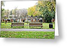 Benches By The Cemetery Greeting Card