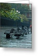 Benches In The Rain Greeting Card