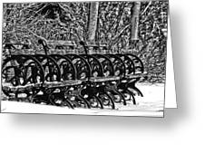 Benches In The Snow - Bw Greeting Card