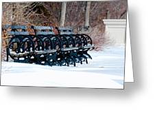 Benches In The Snow Greeting Card