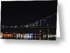 Benjamin Franklin Bridge At Night Panarama Greeting Card