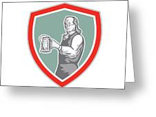 Benjamin Franklin Holding Beer Shield Retro Greeting Card by Aloysius Patrimonio