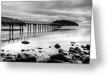 Bennet Bay Pier Black And White Greeting Card