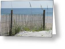 Bent Beach Fence Greeting Card