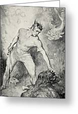 Beowulf Shears Off The Head Of Grendel Greeting Card by John Henry Frederick Bacon