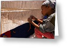 Berber Girl Working On Traditional Berber Rug Ait Benhaddou Southern Morocco Greeting Card