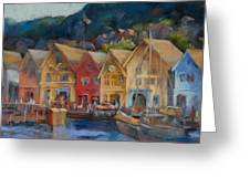 Bergen Bryggen In The Early Morning Greeting Card