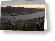 Bergen Sunset Panorama Greeting Card