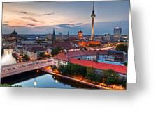 Berlin Germany Major Landmarks At Sunset Greeting Card