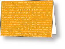 Berlin In Words Orange Greeting Card