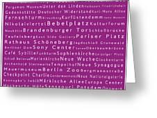 Berlin In Words Pink Greeting Card