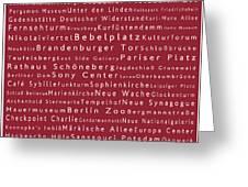 Berlin In Words Red Greeting Card