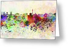 Berlin Skyline In Watercolor Background Greeting Card