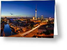 Berlin Skyline Panorama Greeting Card by Jean Claude Castor