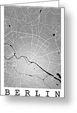 Berlin Street Map - Berlin Germany Road Map Art On Colored Backg Greeting Card
