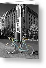 Berlin Street View With Bianchi Bike Greeting Card by Ben and Raisa Gertsberg