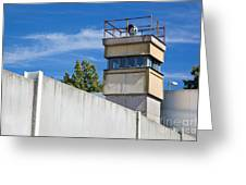 Berlin Wall Memorial A Watchtower In The Inner Area Greeting Card