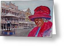 Bermuda Lady In Red And Cop Greeting Card