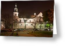Bernandine Church At Night In Krakow Greeting Card