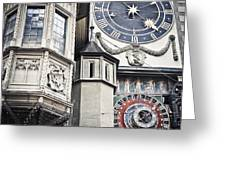 Berne Famous Clock Greeting Card by Mesha Zelkovich