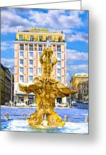 Bernini's Triton Fountain In Piazza Barberini Greeting Card