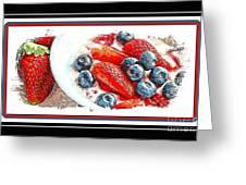 Berries And Yogurt Illustration - Food - Kitchen Greeting Card