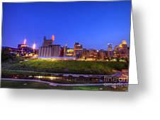 Best Minneapolis Skyline At Night Blue Hour Greeting Card