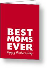 Best Moms Card- Red- Two Moms Mother's Day Card Greeting Card
