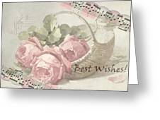 Best Wishes Vintage Roses Card  Greeting Card