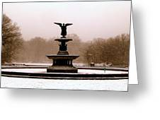 Bethesda Fountain Snow Greeting Card