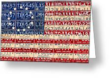 Betsy Ross American Flag Michigan License Plate Recycled Art On Red Board Greeting Card