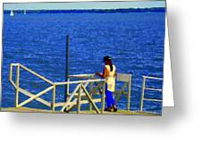 Between Sky And Sea Lachine Canal Viewing Pier Picturesque Water Scenes Montreal Art Carole Spandau Greeting Card