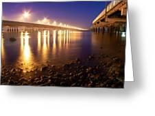 Between Two Bridges  Greeting Card