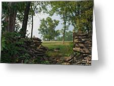 Beyond The Rock Fence Greeting Card by Roger Potts