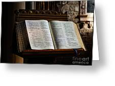 Bible Open On A Lectern Greeting Card