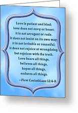 Bible Quote Love Is Patient And Kind Greeting Card