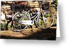 Bicycle And Baskets Kyoto - Philosophers' Walk Greeting Card