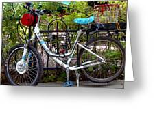 Bicycle At St Francis Cafe Greeting Card